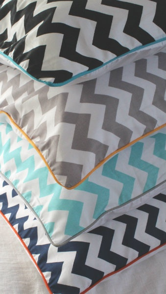 Chevron Piped Pillowcases - Standard