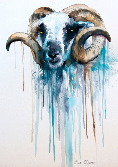 Sheep watercolor  painting print  goat  animal by SlaviART on Etsy, $25.00