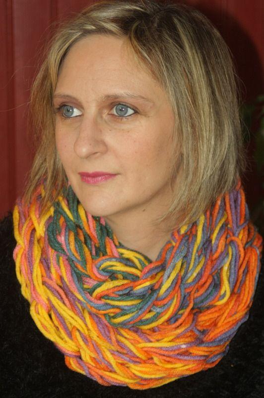 Snood 2 tours multicolore : Echarpe, foulard, cravate par magalie-tissot-creations