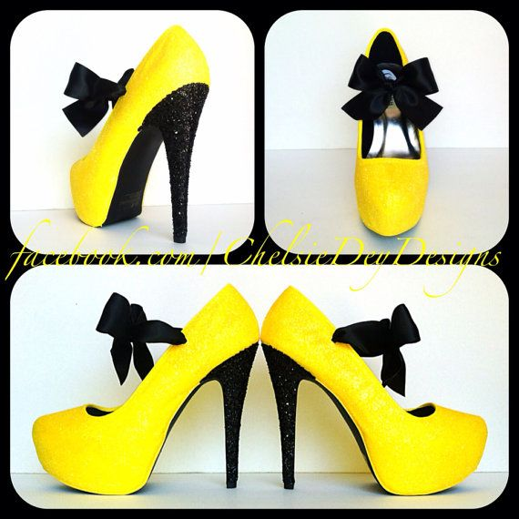 Hey, I found this really awesome Etsy listing at http://www.etsy.com/listing/154251869/black-n-yellow-glitter-high-heels