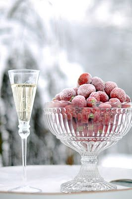 Strawberries and champagne in the frost and snow... Lovely