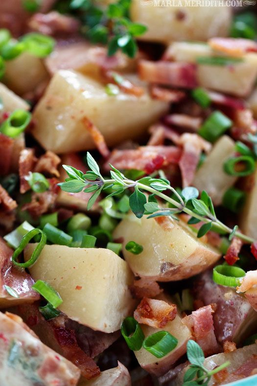 Skinny Bacon Potato Salad Recipe ~ This potato salad is great for picnics, BBQ's and lunch boxes.