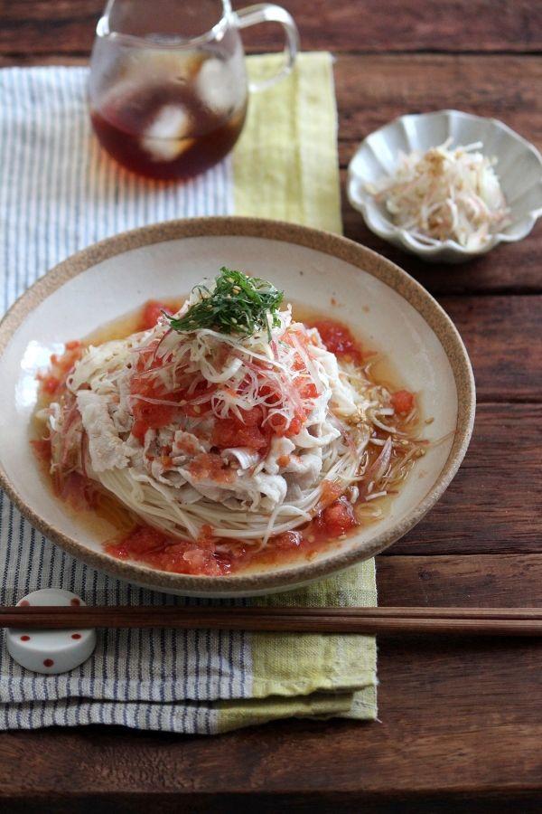 氷トマトの豚しゃぶそうめん。 by 栁川かおり   レシピサイト「Nadia ...