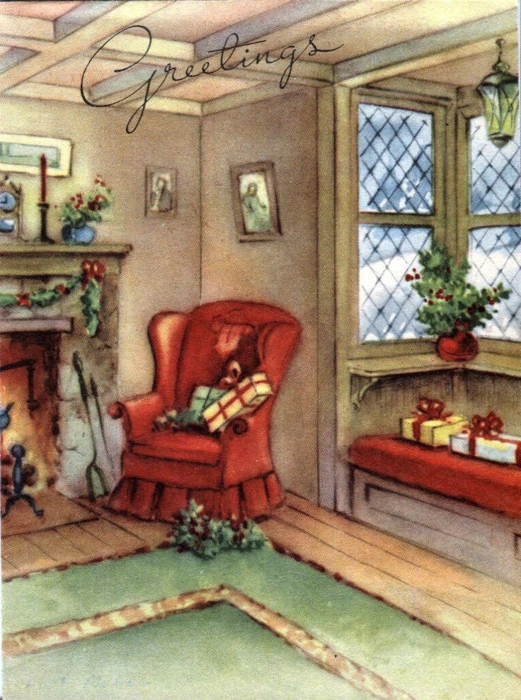 Christmas By The Fireside Http Www Ebay Com Itm Vintage