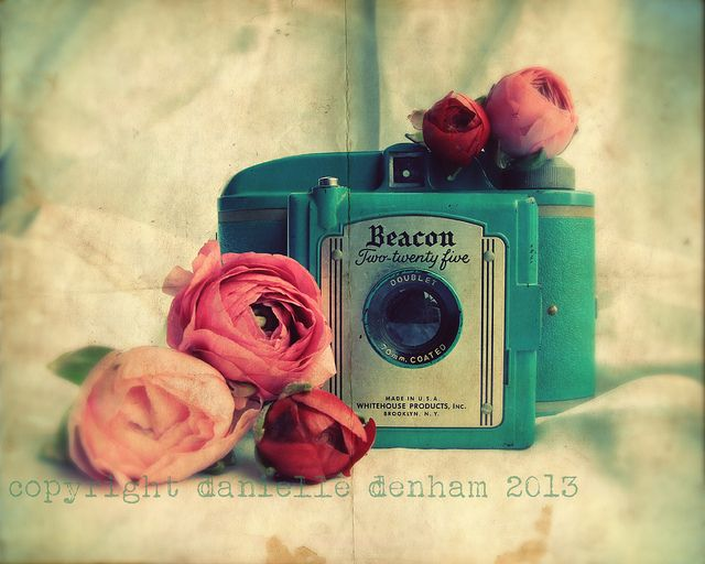 Vintage Camera Photography Beacon Two Twenty Five Turquoise Fine Art Lomography Print