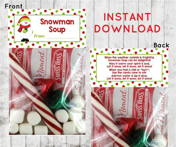 Holiday Christmas, Snowman Soup Treat Bag Topper, Treat Bag Topper, Classroom, Snowman Soup Recipe, Reindeer Food, INSTANT DOWNLOAD by DancingFrogInvites on Etsy https://www.etsy.com/uk/listing/498632315/holiday-christmas-snowman-soup-treat-bag