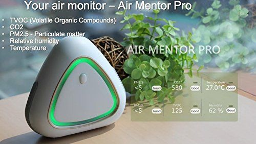 Air Mentor PRO A 6-in-1 Indoor Air Quality Monitor (8096-AP)  Air Mentor is an intelligent air quality monitor providing recommendations and guidance for the best solutions to air quality improvement and better health.  Air Mentor is a 6 - in - 1 indoor pollutant concentration monitor. It can detect concentrations of CO2, VOC along with CO, PM2.5 and PM10, Temperature and relative Humidity.  Access real time individual measurements and get expert recommendations from Air Mentor App  Si...