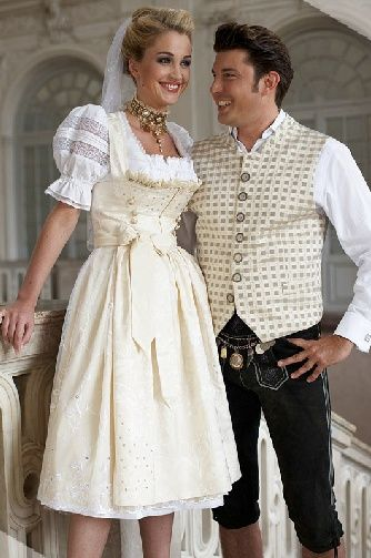 Wedding dirndl and lederhosen.