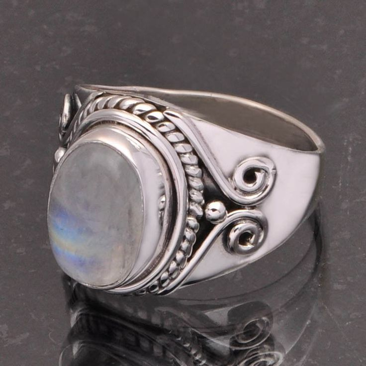 RAINBOW MOONSTONE 925 SOLID STERLING SILVER DESIGNER RING 6.0g DJR7067 #Handmade #Ring