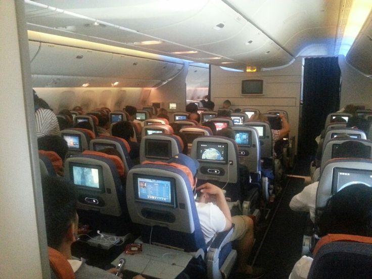 Aeroflot B777 economy cabin.  SU251 1hour before SVO landing