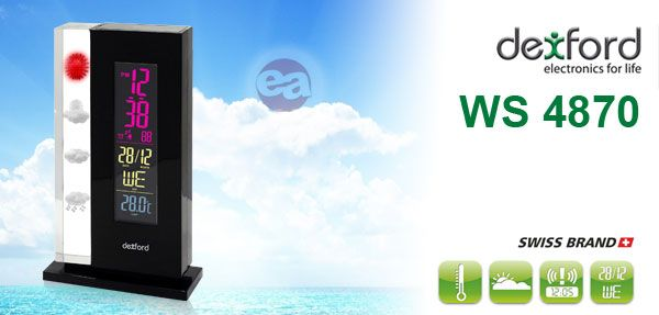 Previsión Meteorológica precisa y al instante con la Estación DEXFORD WS4870 con pantalla LCD en color!!! http://www.electroactiva.com/es/hogar/estaciones-meteorologicas/dexford-estacion-meteorologica-de-cristal-con-lcd-en-color-ws-4870.html