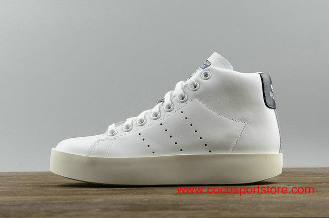Adidas Stan Smith BD Womens Platform BY9964 White Dark-blue Winter Hign-top Increase Shoes