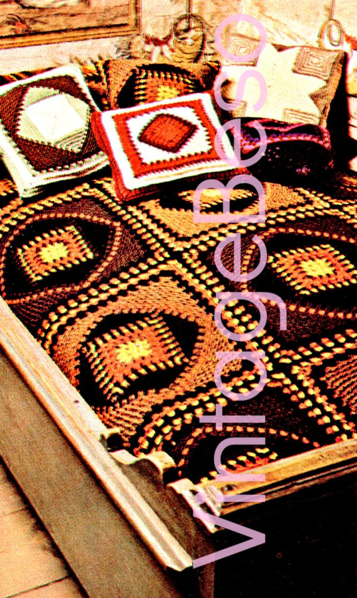INSTANT Download PDF Scandinavia Rustic Afghan 1970s Vintage CROCHET Pattern home decor create your own Scandinavian Blanket cover throw by VintageBeso on Etsy