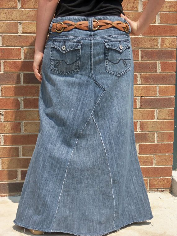 Long Jean Skirt Made To Order by WhimsicalJeanSkirts on Etsy