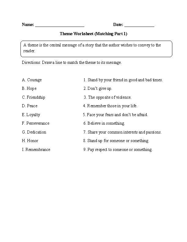 Theme Worksheet Matching Part 1 Intermediate Englishlinx