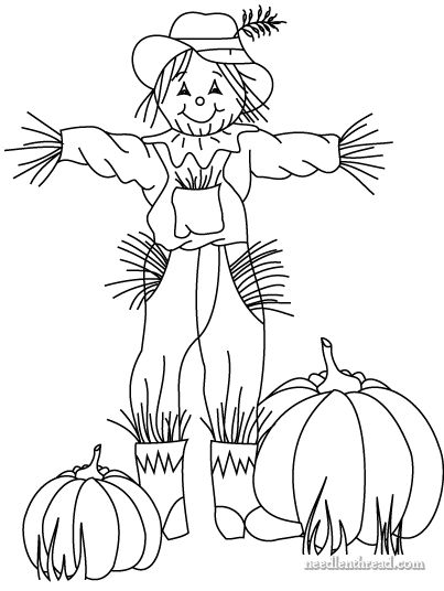 free hand embroidery pattern for fall scarecrow n pumpkins