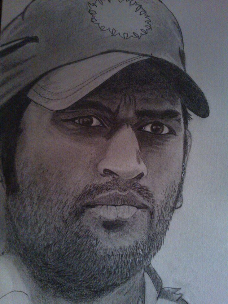 Dhoni's pencil sketch by Raj | Pencil Sketch | Pinterest ... | 736 x 981 jpeg 99kB
