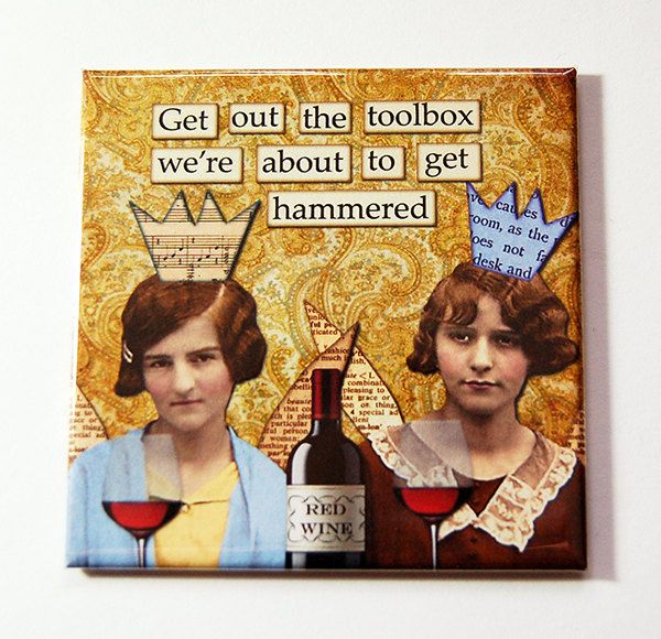 Funny Magnet, Getting Hammered, Kitchen Magnet, Fridge