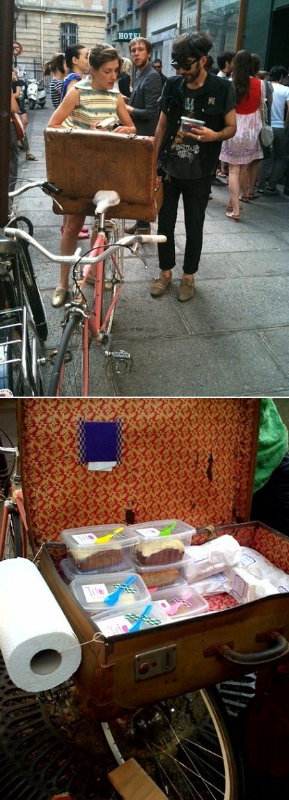 This cute girl has a sandwich-delivered-via-bike-business in PARIS. Ridiculously adorable, non?