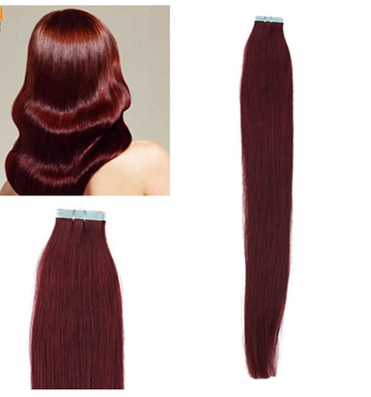 """20"""" Tape In Remy Real Human Straight Hair Extensions 10pcs 25g #99 Wine Red #HairExtension"""