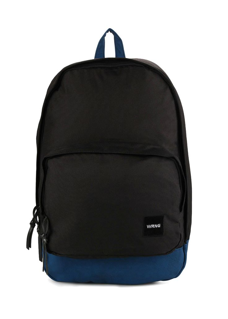 Bleu Noir Backpack by Warning Clothing. Canvas bag with black color and blue on the bottom, this two tone backpack with one main compartment, zipper,adjustable strap, looking good with this simple but cool backpack. http://www.zocko.com/z/JE9bE