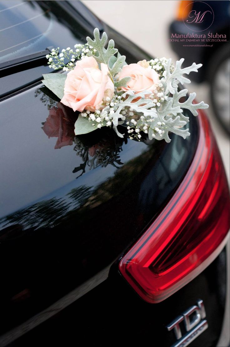 #slubne #kwiaty #bouquet #elegant #wedding #flower #white #pink #rose #manufakturaslubna #sluby #car #decoratons