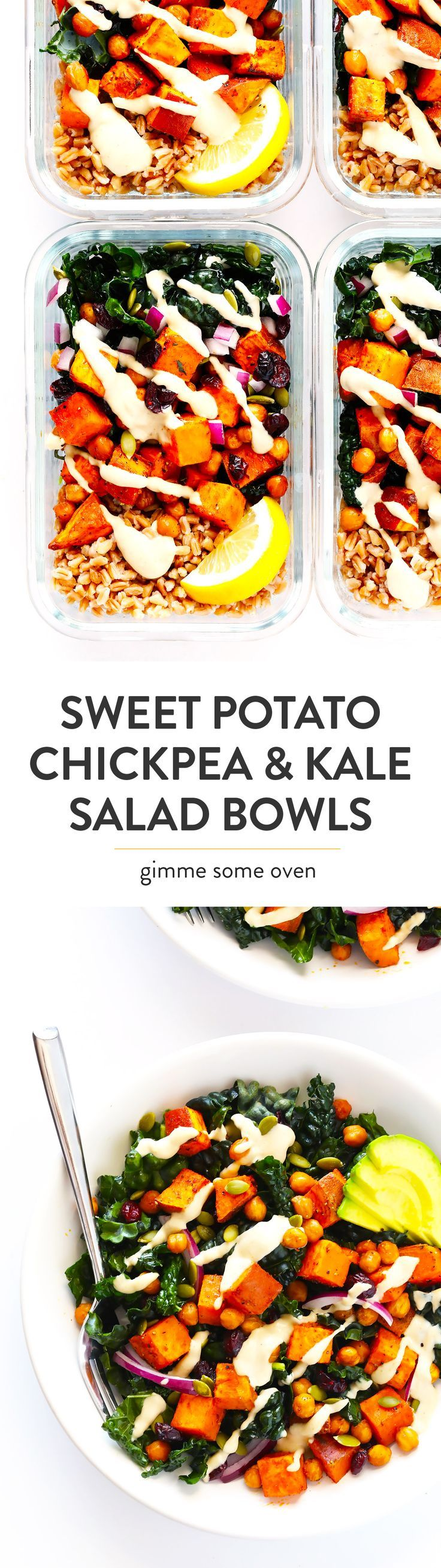 LOVE these meal prep kale salad bowls! They're filled with roasted sweet potatoes, zesty chickpeas, tender kale, pepitas (pumpkin seeds), cranberries, red onions, and a dreamy lemon-tahini dressing. Feel free to add quinoa or farro or rice if you'd like too! | Gluten-Free, Vegetarian, Vegan | Gimme Some Oven