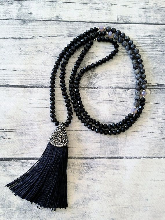 Silk Tassel Necklace Beaded necklace Gemstone necklace Long