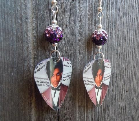 Prince Controversy Album Cover Guitar Pick Earrings with Purple Ombre Pave Beads