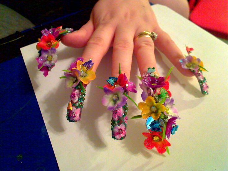 nail artNails Art Ideas, Nails Design, Crazy Nails Art, Flower Nails, Nails Ideas, Nails Art Design, 3D Nails, Long Nails, Art Nails