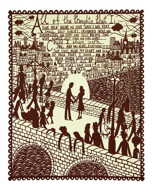 Valentine's day silkscreen. RAD. By Rob Ryan