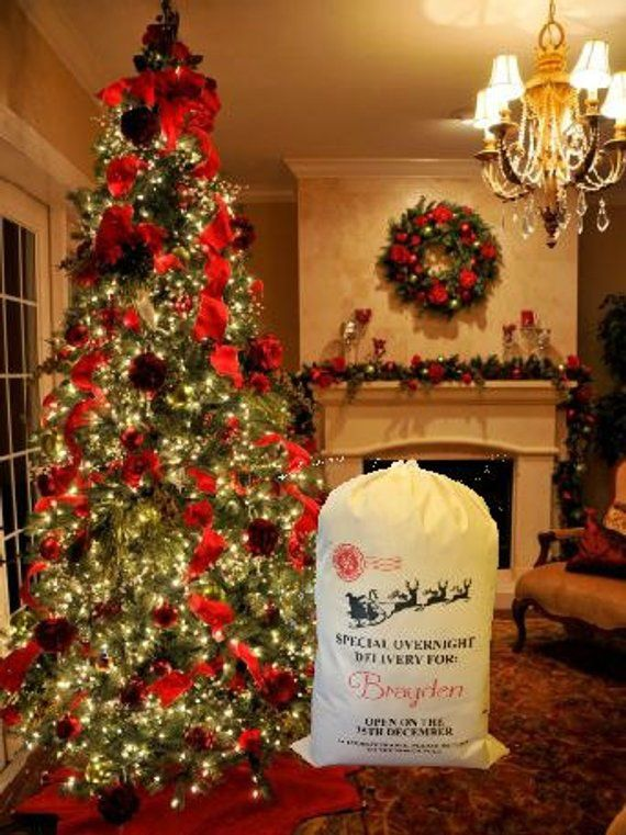 Personalized Santa Sack What A Wonderful Way To Wrap Up Your Childs Presents Under The Coastal Christmas Decor Christmas Decorations Christmas Tree Ornaments