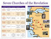 """This wall map shows locations, scriptural references, and the spiritual conditions of each of the seven churches mentioned in Revelation 2-3: Ephesus, Smyrna, Pergamum, and others. Teaching tips on the back include a comparison of the commendations, criticisms, instructions, and promises to each church, and invite students to consider their own spiritual condition. Wall chart size: 19.5"""" x 26"""". Heavy chart paper."""
