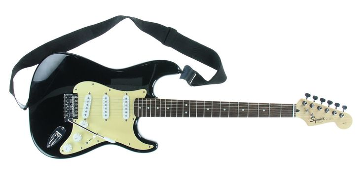 FENDER Squier Strat Black & Cream 6 String Solid Electric Guitar