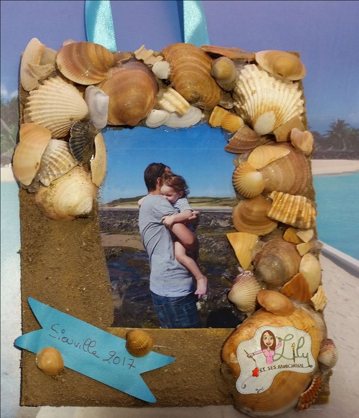 cadre photo en coquillage, souvenirs de vacances   https://www.youtube.com/watch?v=oKZIYn7gWU4&t=188s