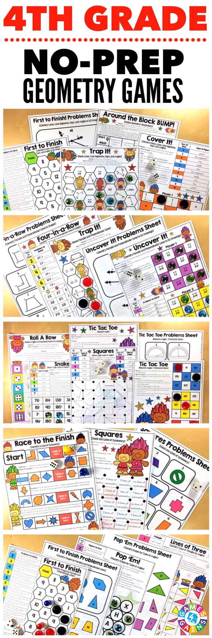 """Kids are LOVING these games during rotation time to reinforce standards."" This 4th Grade Geometry Games Pack includes 20  differentiated games for practicing naming lines, line segments, rays, and angles, identifying parallel and perpendicular lines, identifying types of angles, measuring angles, classifying shapes, identifying lines of symmetry, and more! These games support the 4th grade CCSS geometry standards {4.G.1, 4.G.2, 4.G.3, 4.OA.5, 4.MD.5, 4.MD.6, 4.MD.7}."