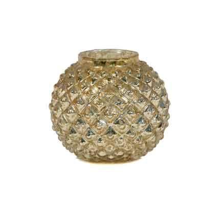 Mercury Glass - Gold Pine Cone Votive   Linen Effects - Minneapolis, MN   Table top decor rentals