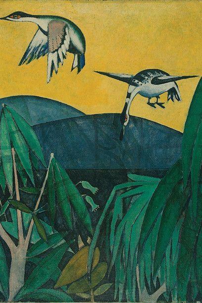 Sans Titre (Paysage avec des oiseaux), 1911. Souza-Cardoso