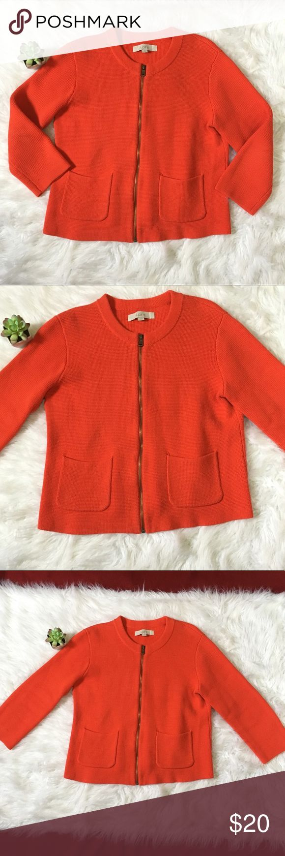 Loft orange zip up knit sweater cardigan LOFT orange zip up heavy sweater/cardigan, 3/4 Sleeve. Women's size Medium. Front pockets , perfect color for fall and thanksgiving ! Excellent pre owned condition. Smoke free pet free home. LOFT Sweaters Cardigans