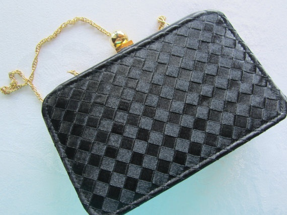 80s Vintage Black Checkered Box Style Purse by FancyVintageFinds, $17.00