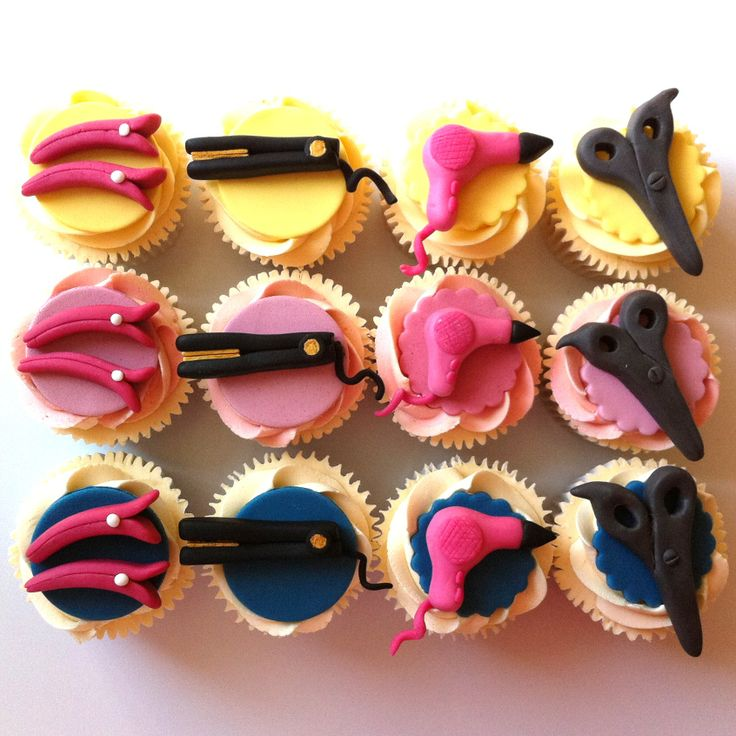 Hairdresser themed cupcakes