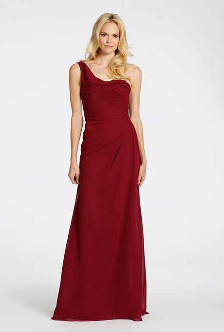 Brides: Hayley Paige Occasions. Burgundy chiffon one shoulder A-line bridesmaid gown, asymmetrical draping on bodice and skirt, $230, Hayley Paige Occasions