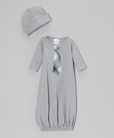 Take a look at this Gray Tie Gown & Socks - Infant by Too Sweet on #zulily today!