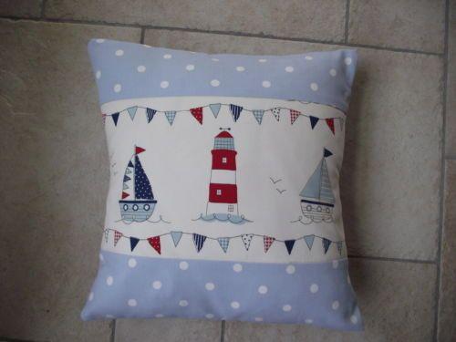 Nautical Cushion Cover Maritime Seaside Beach Hut Lighthouse Boat Blue Spot