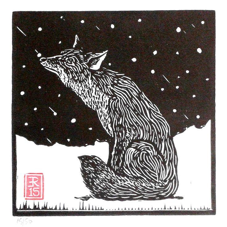 """Winter Fox"" ....lino print by Red Boy Prints 2015 ©"