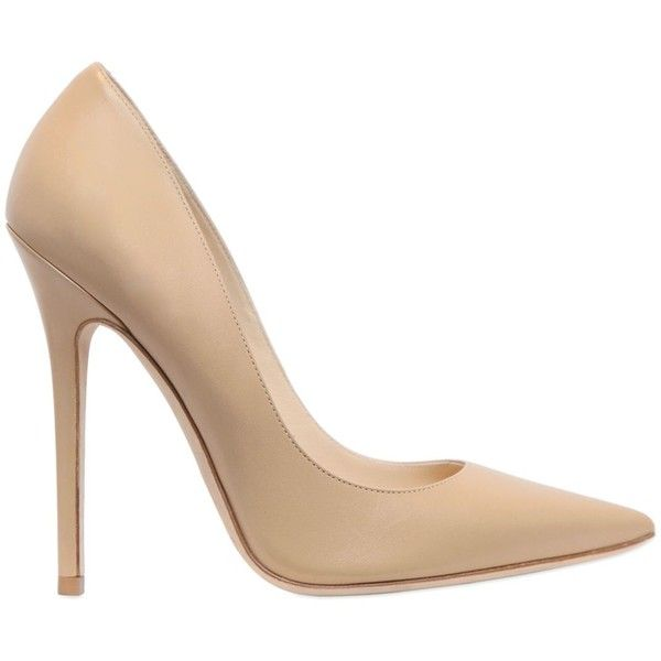 Jimmy Choo Women 120mm Anouk Leather Pumps ($620) ❤ liked on Polyvore featuring shoes, pumps, nude, high heel pumps, leather sole shoes, leather shoes, pointed toe pumps and nude high heel shoes