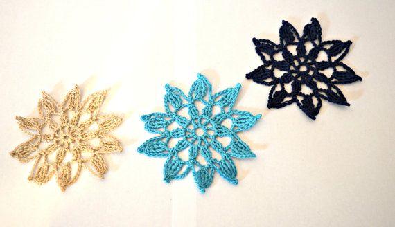 flower crochet coster set of 6 in blue by IlmondodiTabitha on  Etsy Click here for more details:  https://www.etsy.com/listing/237942313/flower-crochet-coster-set-of-6-in-blue #italiasmartteam #crochet #coasters #flower #doily #ilmondoditabitha #etsy #homedecor #tabledecor