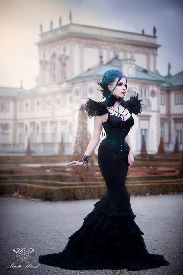 #Black #lace #feather #gothic #victorian #neckcorset and #black #feather #costume #shoulderpads by #mysticthread / Mystic Thread- www.mysticthread.com / Model, make-up, styl, edit: #Daedra / Photographer: #UnitFoto / Corset: #VermilionCorsets