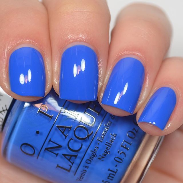 """@opi_products """"My Pal Joey"""" (no it's not a Pacific Blue dupe) from the Hello Kitty collection. I have swatches of this and the rest of the collection on my YouTube channel right now! #notd #nails #nailpolish #nailsofinstagram #opi #jessface90xopi"""