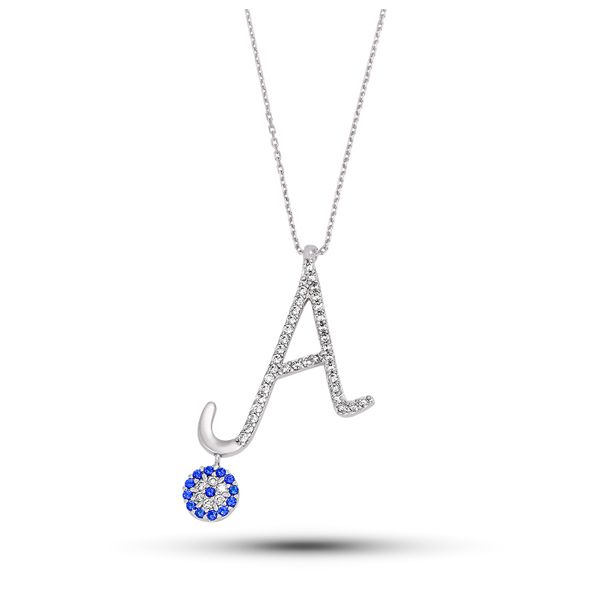 Ürün 925 ayar gümüşten imal edilmiştir.Kolye'ye A harfi yapılmiştir.Üzerine de beyaz zirkon tas işlenmiştir.